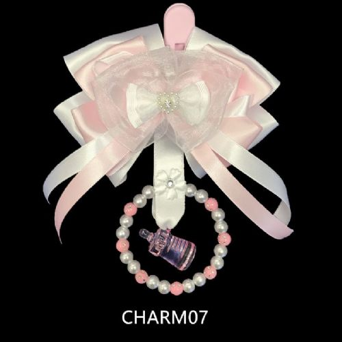 Stunning Hand Craft Pram Charm/Pink and White Ribbon/ Bottle Charm 07